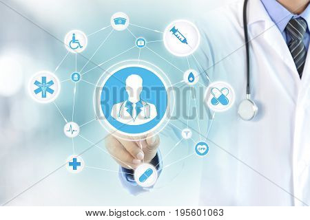 Hand touching doctor icon on virtual screen - modern healthcare and medical concepts