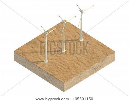 Windmills of the desert on a plot of land. 3d rendering
