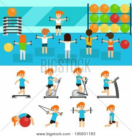 Fitness infographic elements flat vector illustration, horizontal banners design. Group of people exercising in the gym. Fitness, aerobic, sport, training, gym and lifestyle concept. Body shaping.