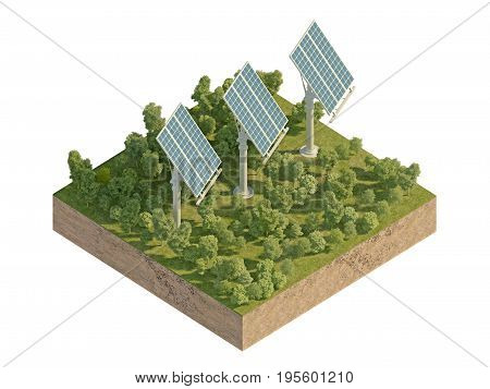 Solar panels on the island with forest. 3d rendering