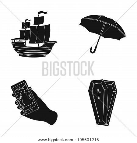 Sailboat, umbrella and other  icon in black style. navigator, coffin icons in set collection.