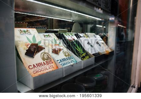 Amsterdam Netherlands - 25 April 2017: Chocolate bars with marijuana sell in a Smart Shop in Amsterdam city center.