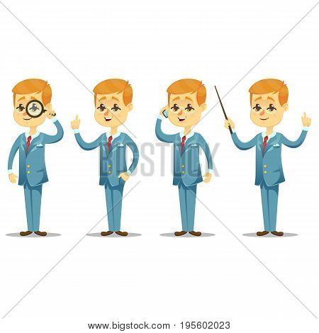 Vector illustration - funny cartoon guy with glasses in various poses handsome young businessman eps10