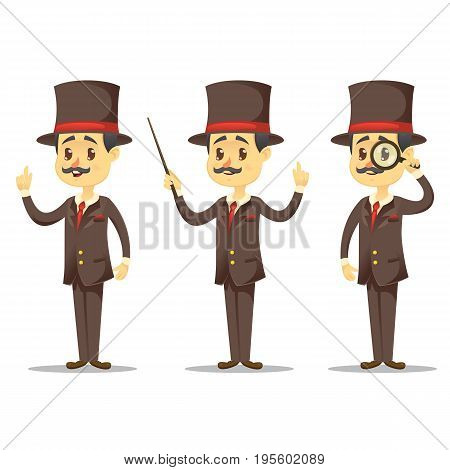 Vector illustration - funny cartoon Victorian Gentleman in various poses handsome English businessman eps10