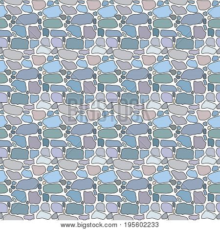 Seamless multi-colored pattern from pebbles in the form of a masonry