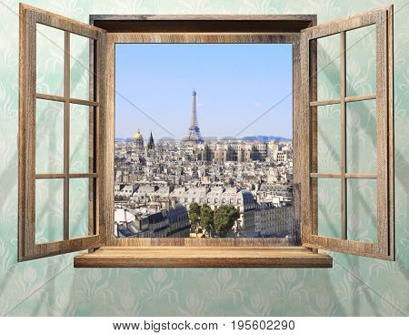 Opened wooden window and view on Eiffel tower, Paris. 3d render