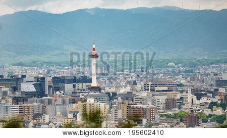 Long shot of Kyoto city with tower