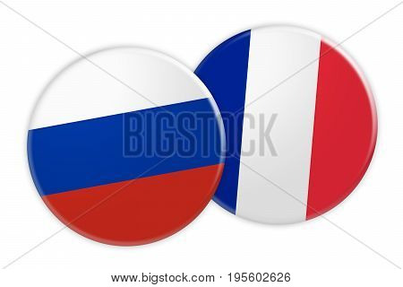 News Concept: Russia Flag Button On France Flag Button 3d illustration on white background