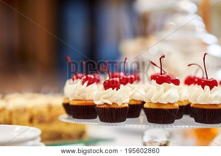 Freshly baked delicious cupcakes decorated with butter cream and cherries on top cherry fruit berry delicious tasty eating nutrition copyspace.