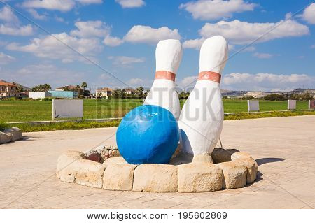 Bowling and sports games concept - Giant Skittles outdoor.