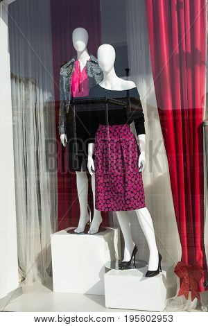 Women mannequin in shop of a fashion store