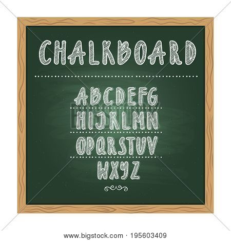 Antique child school chalkboard with green texture and hand writing alphabet on it. Vector doodle writing letters. Blackboard with alphabet handwritten illustration