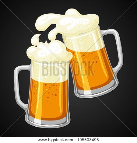 Mugs with light beer and froth. Illustration for Oktoberfest.