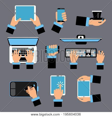 Hands holding different computer devices. Laptop, smartphone, tablet and other gadgets. Vector picture in flat style. Computer and laptop, gadget in human hand illustration