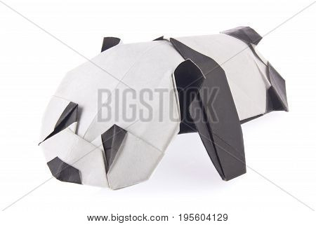 Sweetheart panda of origami, isolated on white background.