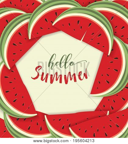 Vector illustration of watermelon. Hello summer card with melon
