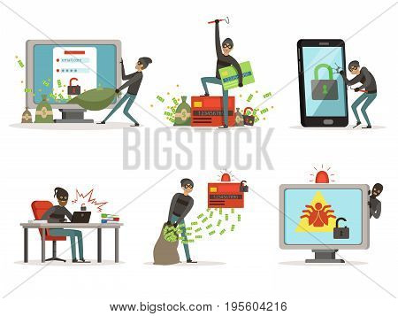 Cartoon illustrations of internet hackers. Breaking different user accounts or bank protection systems. Security concept, hacker with computer, thief in network