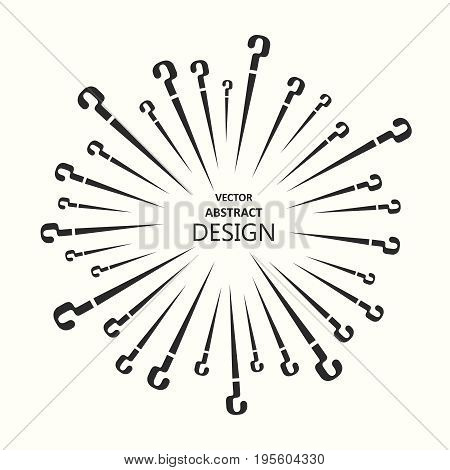 Vector illustration with the scattering question marks.Template with the place for the text.Design in monochrome style.