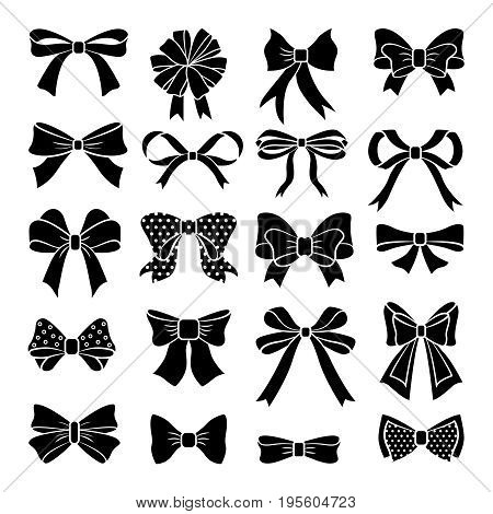 Monochrome vector bows and ribbons set. Holiday illustrations isolate. Collection of bow elements black for decoration