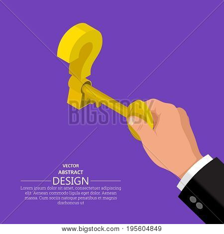 The hand with a key opens a keyhole at a question mark.Concept of a solution question.Isometric illustration in flat stile.3d.Vector design.