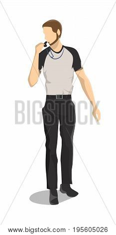 Isolated basketball referee on white background. Man whistling.