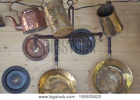 Cookware for fire made of copper alloy Russia