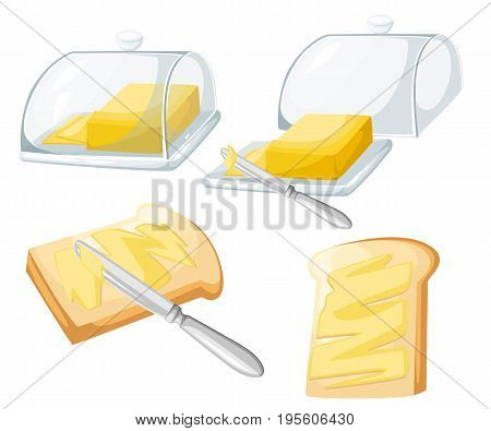 Knife Spreading Butter Or Margarine On Slice Of Toast Bread And Bar Of Butter, Flat Design Vector We