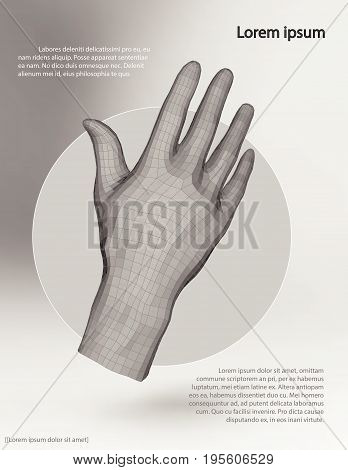 Polygonal wire frame hand. Vector illustration template on grey background with shadows and text