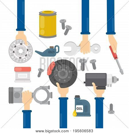 Car repair hands. Hands holding equipment for repairing automobiles as oil, wheel and more.