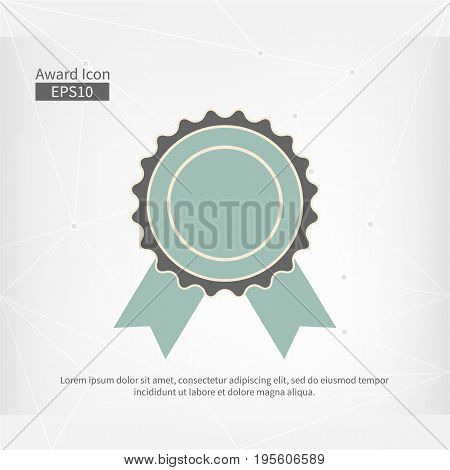 Award icon isolated. Vector infographic sign for the First Place. Grey blue circle symbol with ribbon on abstract gray triangle background. Best label illustration for web design awarding decoration