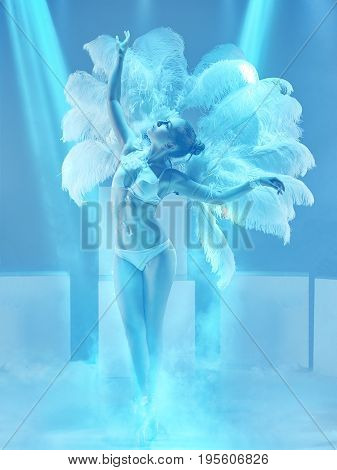 The studio shot of female modern dancer in the role of a white swan on blue background