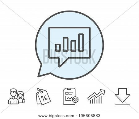 Chart line icon. Report graph or Sales growth sign in speech bubble. Analysis and Statistics data symbol. Report, Sale Coupons and Chart line signs. Download, Group icons. Editable stroke. Vector