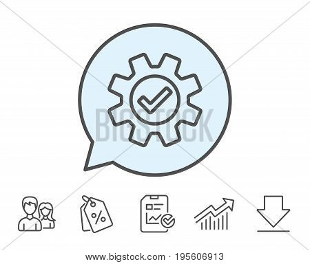 Cogwheel line icon. Approved Service sign. Transmission Rotation Mechanism symbol. Report, Sale Coupons and Chart line signs. Download, Group icons. Editable stroke. Vector
