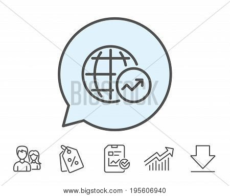 World Statistics line icon. Report chart or Sales growth sign. Data Analysis graph symbol. Report, Sale Coupons and Chart line signs. Download, Group icons. Editable stroke. Vector