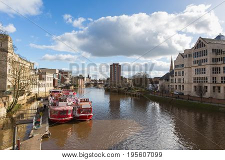 York England view from Lendal bridge of River Ouse and pleasure boats in the historic Yorkshire city