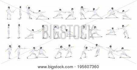 Fencing moves set on white background. Athletes in white outfit with mask and sword.