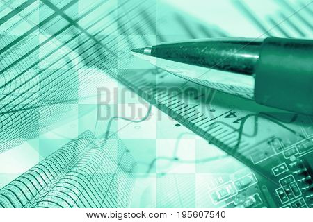 Business background in greens with buildings graph and pen.