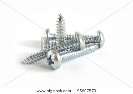 Set of screws on the white background.