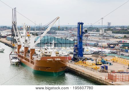 Huge Freighter docked in Southampton England harbor