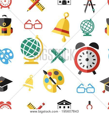 Digital vector green red yellow school icons with drawn simple line art seamless pattern, children map globe hat bell clock pen ruler book apple girl boy pupil brush bus bag, flat style