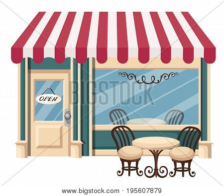 Street Cafe. Coffeeshop. City Cafe. Urban Spring Summer Landscape. Flat Design Concept. Vector Illus