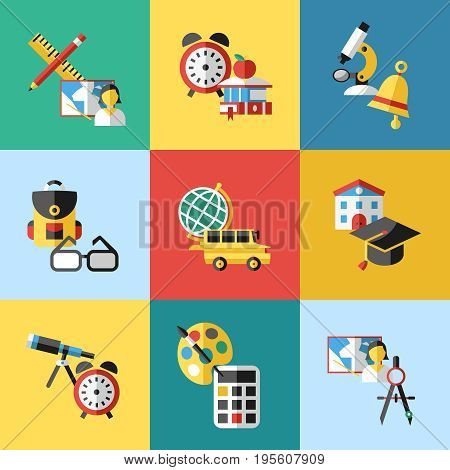 Digital vector red green blue school icons infographics with drawn simple line art, telescope map globe hat bell clock pen ruler book apple girl boy pupil brush calculator bus building bag, flat style