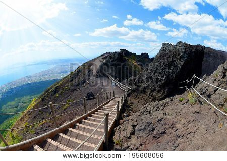 Hiking trail on Vesuvius volcano. Campania region, Italy
