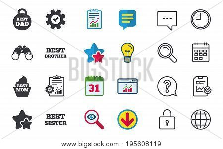 Best mom and dad, brother and sister icons. Weight and cupcake signs. Award symbols. Chat, Report and Calendar signs. Stars, Statistics and Download icons. Question, Clock and Globe. Vector