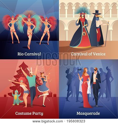 Carnival party concept icons set with costume party symbols flat isolated vector illustration