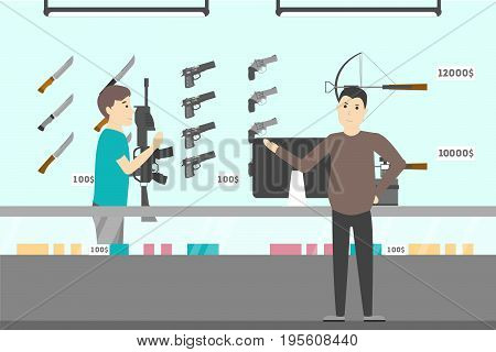 People at gun shop. Choosing the best weapon. Pistols, knives and more.