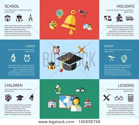 Digital vector blue red green school icons with drawn simple line art, children map globe hat bell clock pen ruler book apple girl boy pupil brush calculator bus lessons bag holidays, flat style