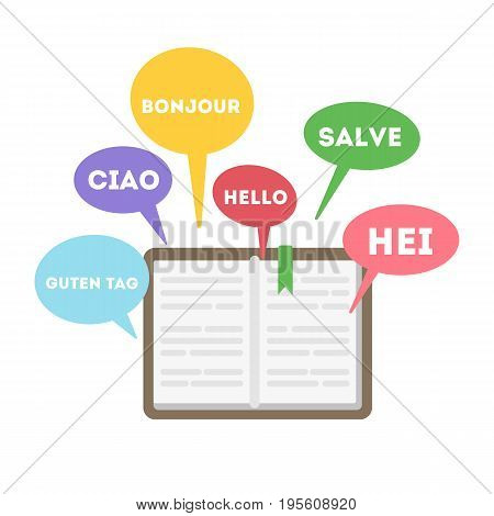 Learning languages concept. Book with word hello on different languages.
