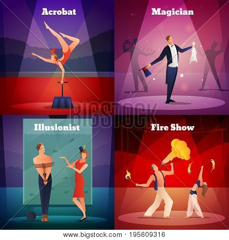 Magic show 2x2 design concept set of acrobat illusionist magician and fire show square compositions flat vector illustration