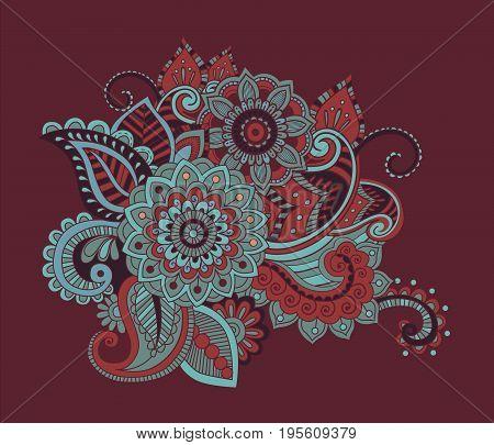 Bright Abstract wallpaper vintage flower pattern vector illustration violet palette